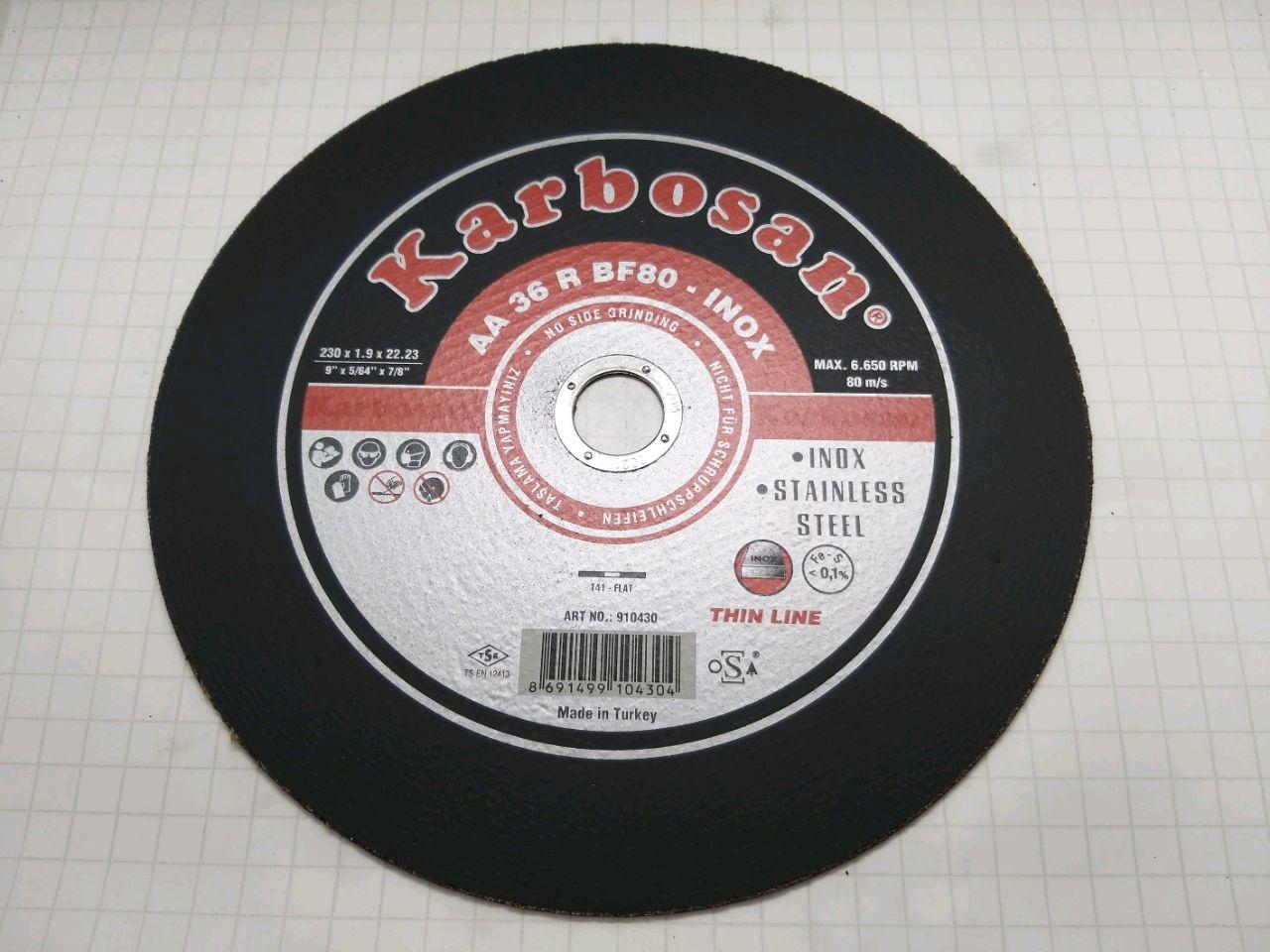 Disc de tăiat 230х1,9х22 Karbosan