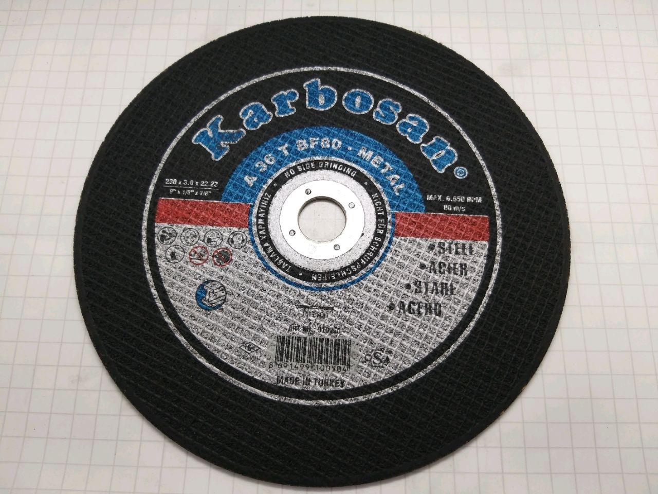 Disc de tăiat 230х3,0х22 Karbosan