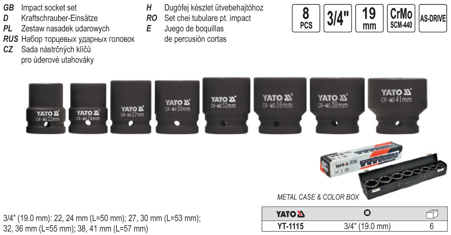 Set capete de impact hex. 3/4 22-41mm 8buc