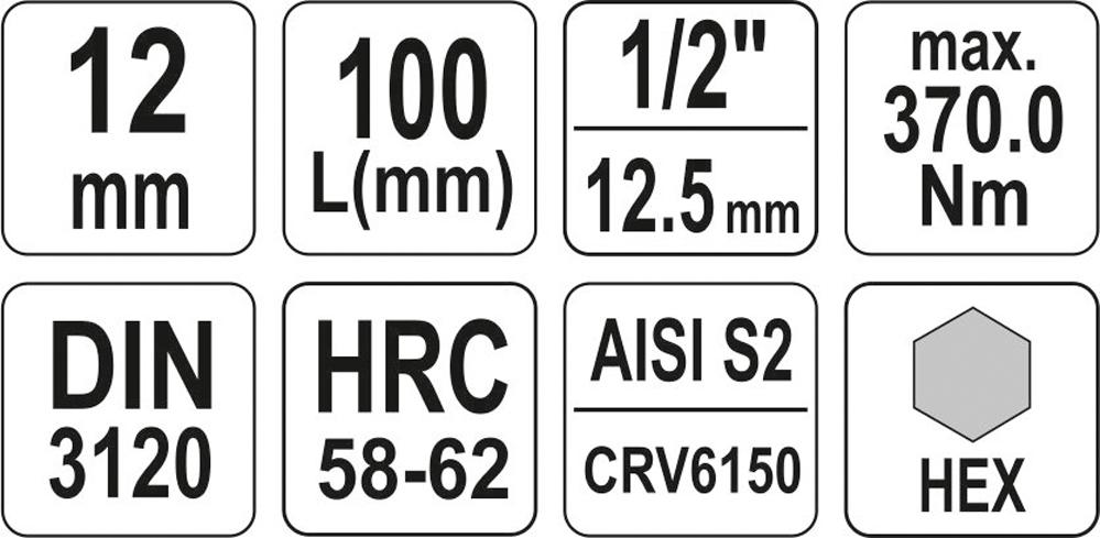 Cap cu insert HEX 12mm 1/2 100mm